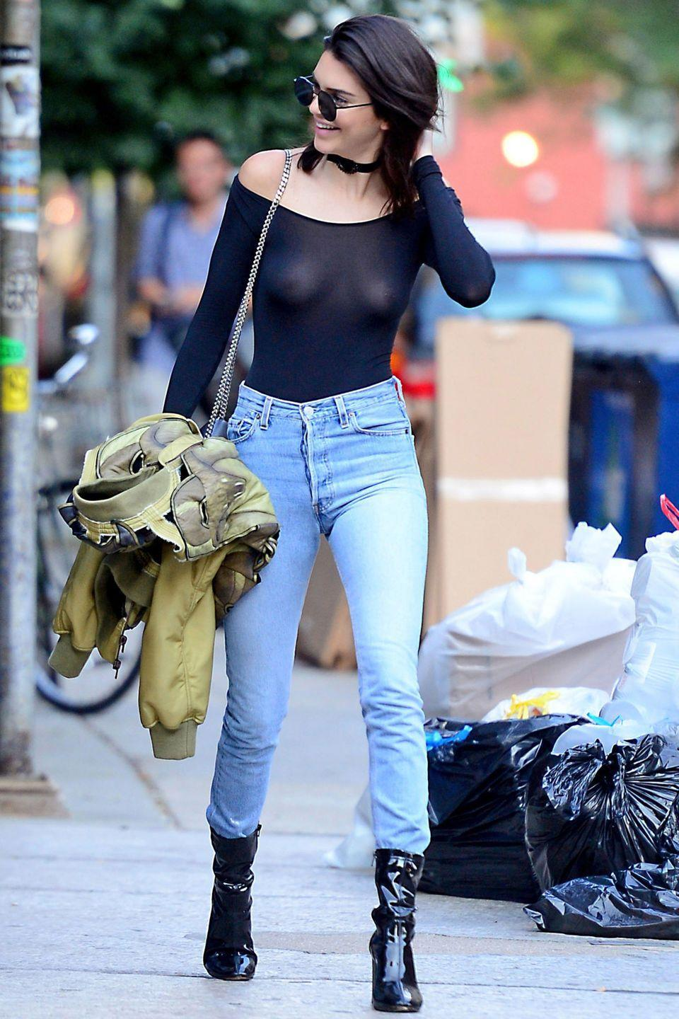 <p>In a sheer top to showcase your nipple ring, if you're Kendall Jenner. </p>