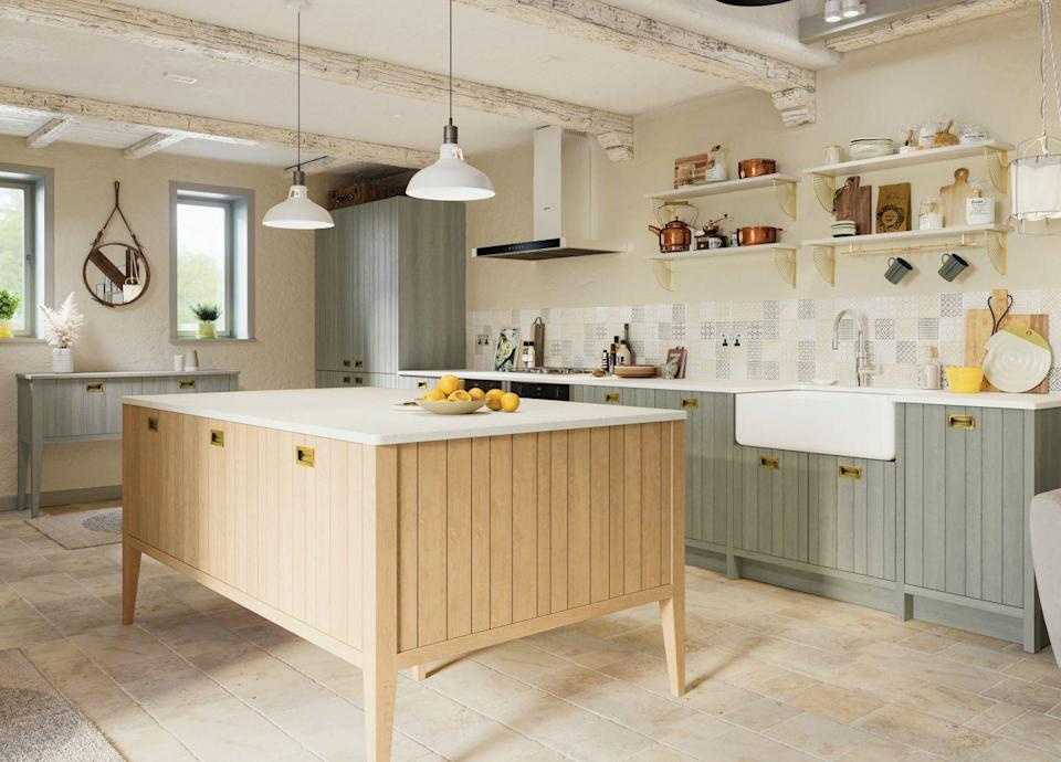 """<p>Bring a touch of farmhouse chic to your kitchen with a rustic-style island. Natural materials, such as European oak, is great if you're looking for a design that will stand the test of time. </p><p>• 'Tavole' kitchen collection from <a href=""""https://www.lochannakitchens.co.uk/tavole-collection/"""" rel=""""nofollow noopener"""" target=""""_blank"""" data-ylk=""""slk:LochAnna Kitchens"""" class=""""link rapid-noclick-resp"""">LochAnna Kitchens</a> </p>"""