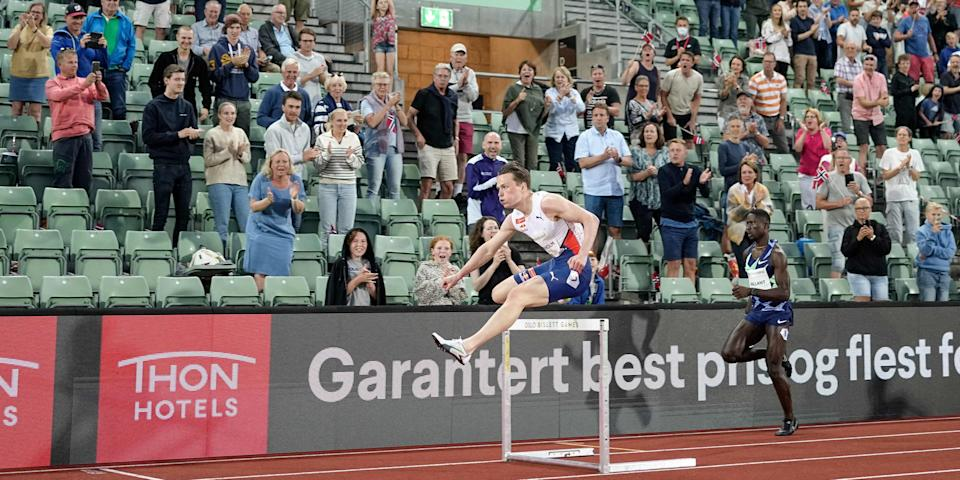 Karstan Warholm beat 1992 Olympic champion Kevin Young's mark of 46.78 secs, which was set four years before the Norwegian was born and was the longest-standing record in men's track.