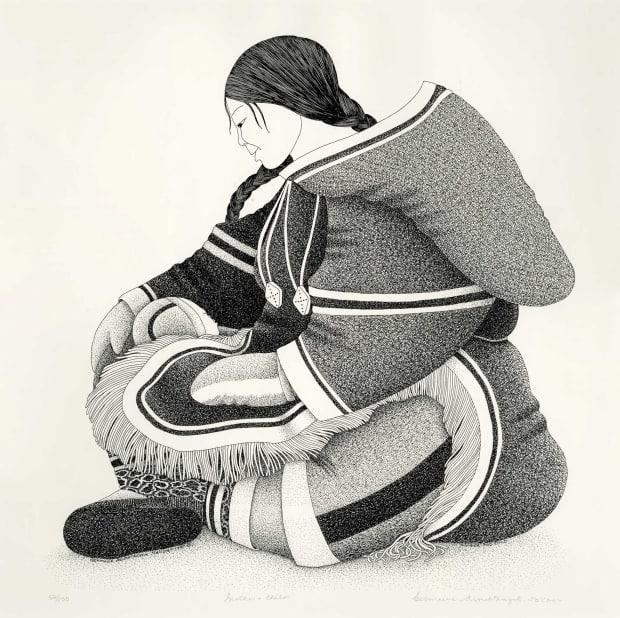 This drawing by artist Germaine Arnaktauyok is titled Mother and Child.