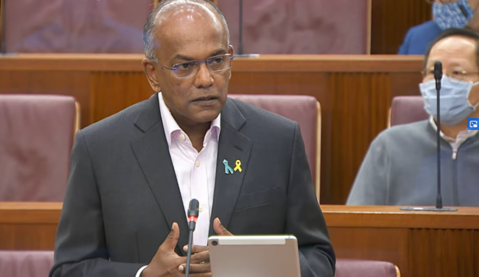 Singapore's Home Affairs and Law Minister K Shanmugam addresses Parliament on Thursday, 4 March 2021. (SCREENGRAB: Ministry of Communications and Information YouTube channel