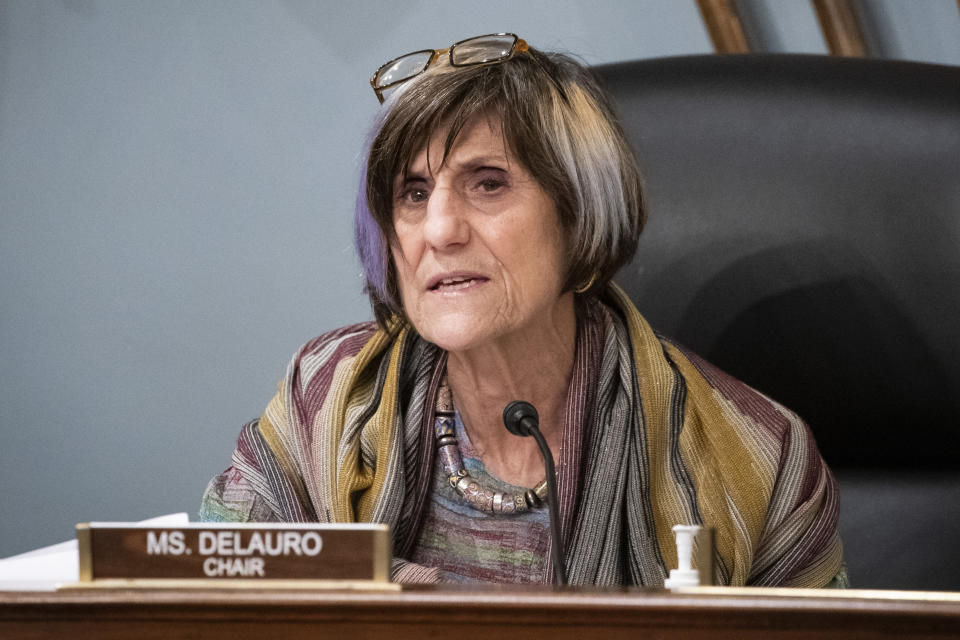 FILE - In this Jan. 4, 2020, file photo Rep. Rosa DeLauro, D-Conn., speaks during a hearing on Capitol Hill in Washington. A bipartisan proposal in the U.S. House would ban the farming of mink fur in the United States in an effort to stem possible mutations of the coronavirus, something researchers have said can be accelerated when the virus spreads among animals. The bill introduced this week is an effort from Reps. Rosa DeLauro, D-Conn., and Nancy Mace, R-S.C. It would prohibit the import, export, transport, sale or purchase of mink in the United States. (Al Drago/Pool Photo via AP, File)
