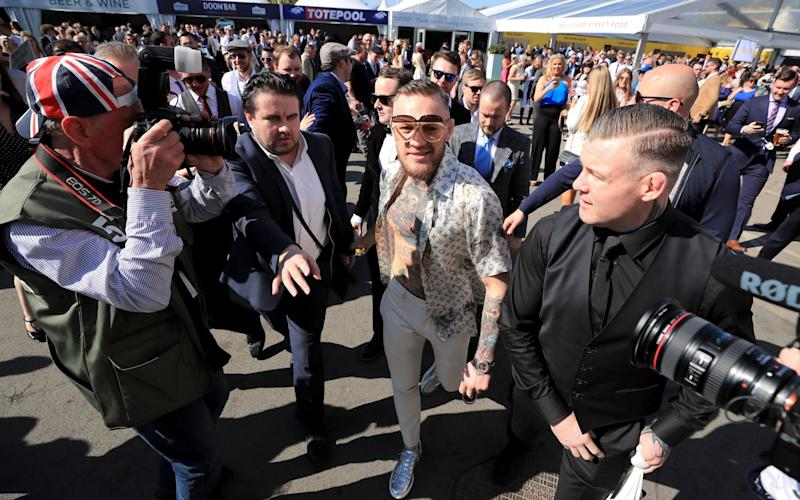 Conor McGregor on Grand National Day of the Randox Health Grand National Festival at Aintree Racecourse. PRESS ASSOCIATION Photo. Picture date: Saturday April 8, 2017. See PA story RACING Aintree. Photo credit should read: Peter Byrne/PA Wire - Credit: Peter Byrne/PA