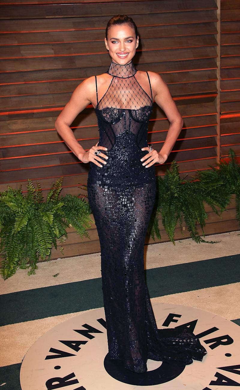 At the 2014 Vanity Fair Oscar party, the model opted for a sheer, body-hugging black gown.