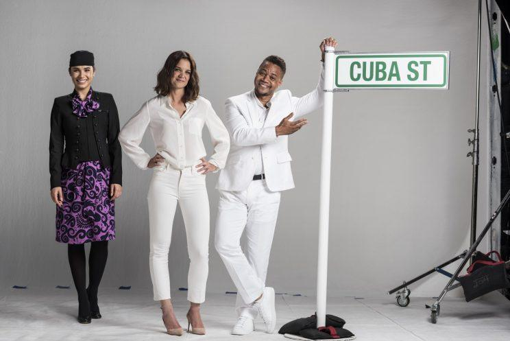 Katie Holmes and Cuba Gooding Jr filming Air New Zealand's in-flight safety video / Courtesy Air New Zealand