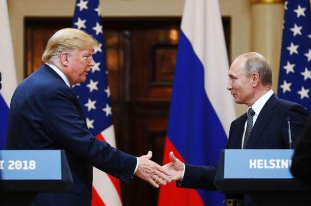 PHOTO: President Donald Trump shakes hand with Russian President Vladimir Putin at the end of the press conference at the Presidential Palace in Helsinki, Finland, July 16, 2018. (Alexander Zemlianichenko/AP)