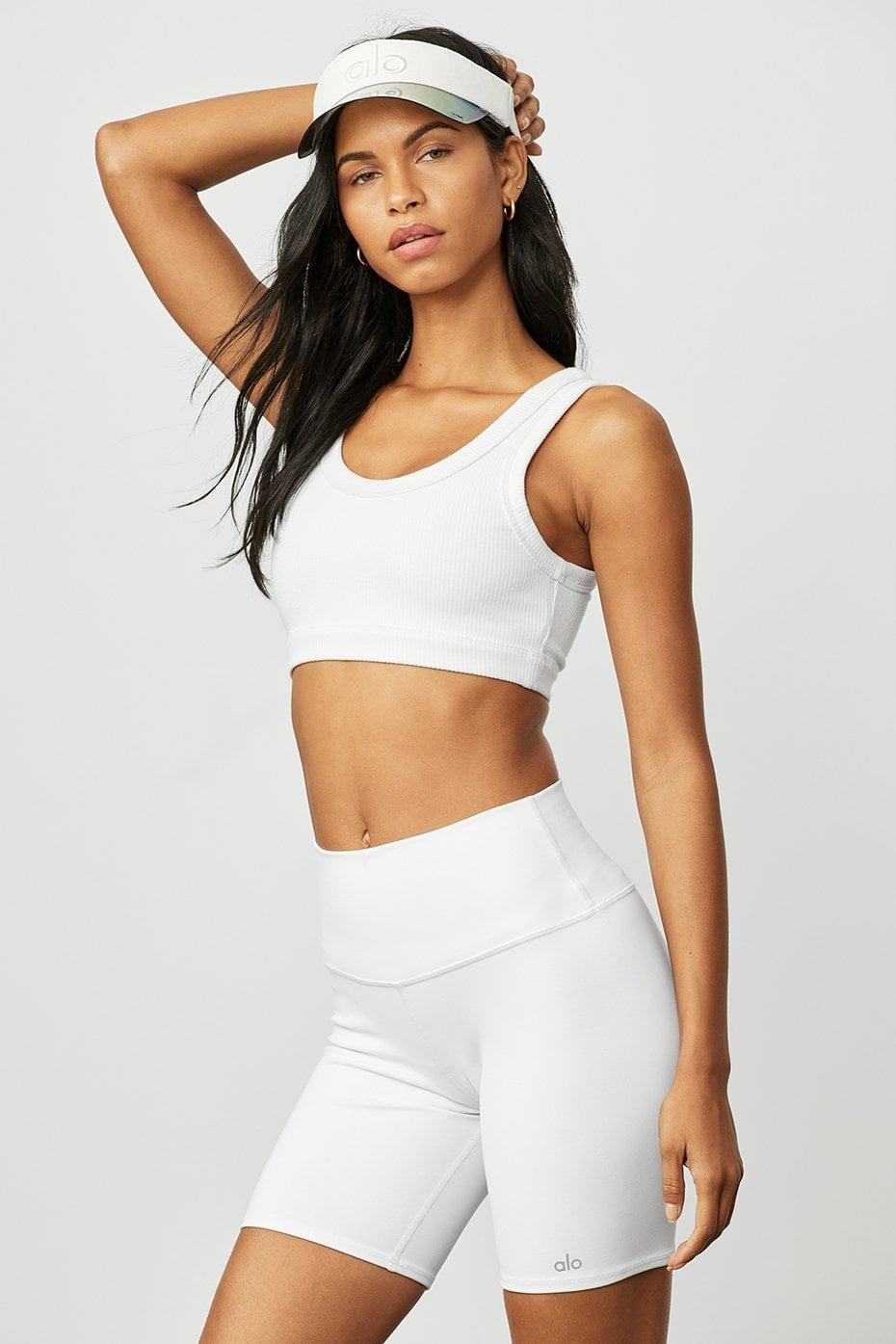 <p>How cute is this <span>Alo Wellness Bra</span> ($62) and <span>High Waist Biker Short</span> ($56)? If you want something to really break a sweat in, this is a good choice.</p>