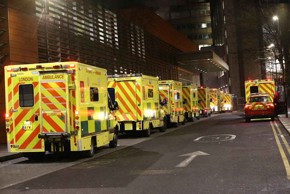 Ambulances queued outside the Royal London Hospital, in London on Tuesday December 29, 2020.