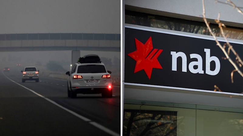 19 NAB branches have been shut today due to the bushfires that continue to ravage Australia's east coast. Left: Cars drive down a freeway as smoke shrouds the Australian capital of Canberra, Australia. Right: NAB, Canberra. (Source: AAP)