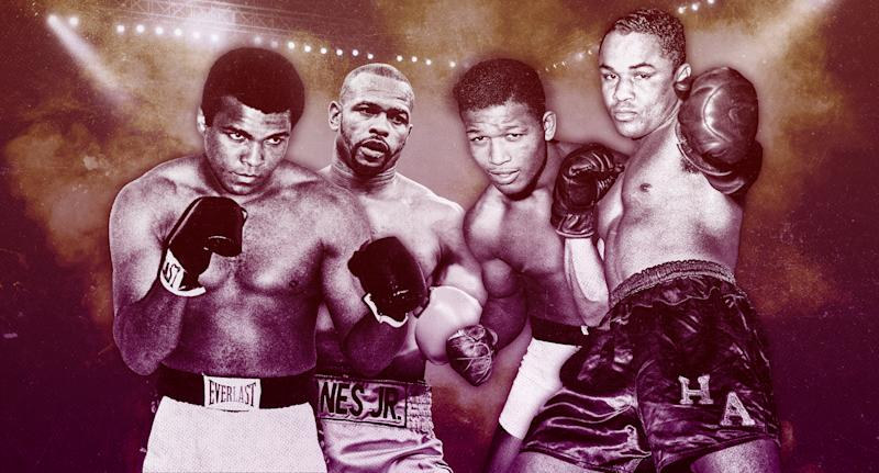 Muhammad Ali, Roy Jones Jr. Sugar Ray Robinson and Henry Armstrong were the first to be drafted in the Yahoo Sports Boxing Legends draft. (Photo illustration by Paul Rosales/Yahoo Sports)