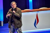 Former Donald Trump adviser Steve Bannon, seen here during a recent event in Lille, France, worked with the data-analysis firm Cambridge Analytica, whose account has been suspended by Facebook (AFP Photo/PHILIPPE HUGUEN)