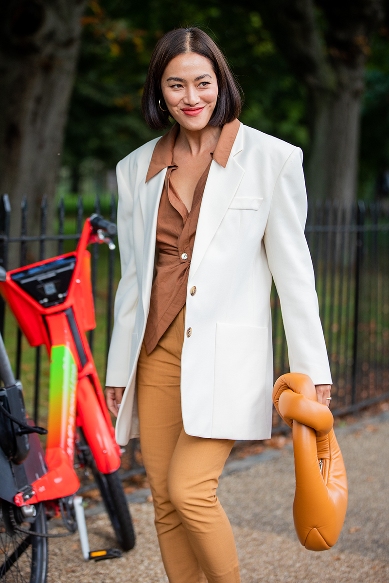 <p>Swap your go-to black blazer for an ivory style to give your look a super fre$h feel.</p>