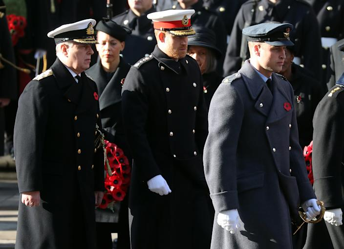 LONDON, ENGLAND - NOVEMBER 10: Prince Andrew, Duke of York, Prince Harry, Duke of Sussex and Prince William, Duke of Cambridge attends the annual Remembrance Sunday memorial at The Cenotaph on November 10, 2019 in London, England. The armistice ending the First World War between the Allies and Germany was signed at Compiègne, France on eleventh hour of the eleventh day of the eleventh month - 11am on the 11th November 1918.  (Photo by Chris Jackson/Getty Images)