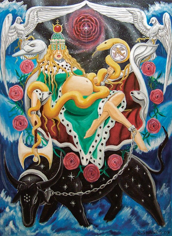 """A fantastical detail of the Empress from Sebastian Haines' """"The Tarot of the Golden Serpent,"""" 2013"""