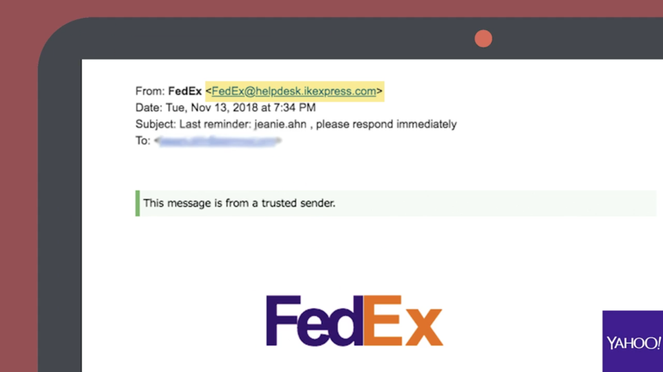 An example of a fake shipping notification from FedEx.