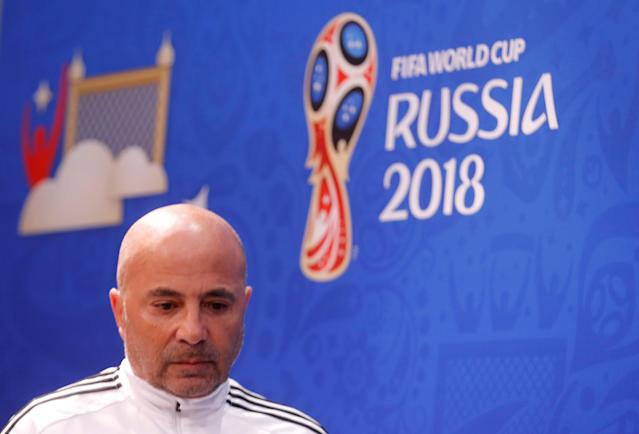 Soccer Football - World Cup - Argentina Press Conference - Nizhny Novgorod Stadium, Nizhny Novgorod, Russia - June 20, 2018 Argentina coach Jorge Sampaoli during the press conference REUTERS/Carlos Barria