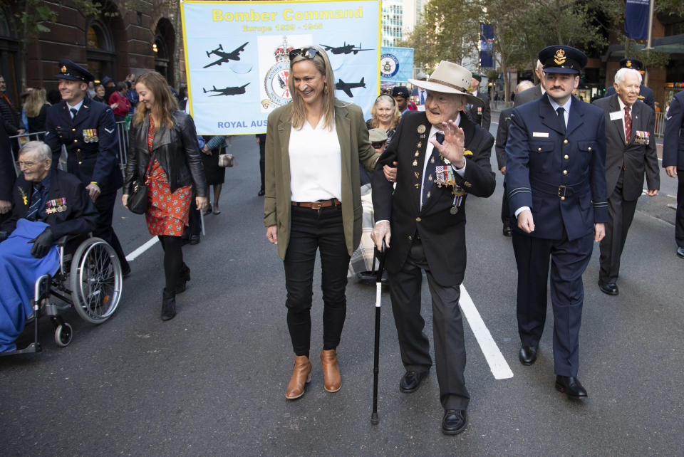 Veterans march during the Anzac Day parade in Sydney, Australia, Sunday, April 25, 2021. Australians and New Zealanders paid tribute to their war dead Sunday as both nations prepared to withdraw from their longest war in Afghanistan. (AP Photo/Mark Baker)