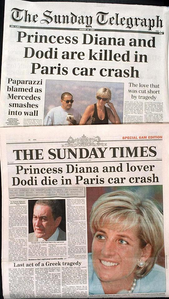 <p>Front covers from the Sunday Times and Sunday Telegraph in the UK, the day after Diana and Dodi's deaths. (Rex) </p>
