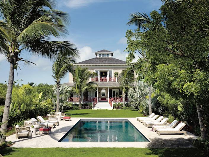 Chicago-based decorator Alessandra Branca's Bahamas getaway, Highlowe, features a 40-foot-long swimming pool.
