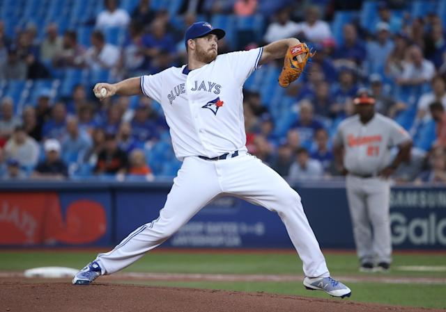 Joe Biagini had an excellent start against the Baltimore Orioles on Tuesday by relying on a simple strategy. (Tom Szczerbowski/Getty Images)