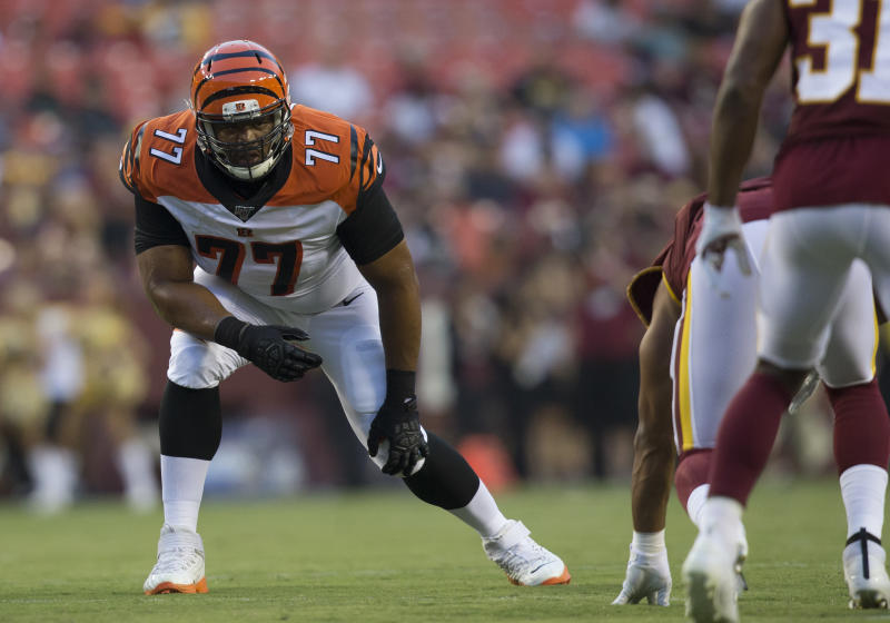Cincinnati Bengals tackle Cordy Glenn suffered a concussion in this August 15 game and has not played since; the Bengals suspended him for one game on Friday. (Getty Images)
