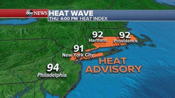 A heat advisory is in effect today for much of New England. (ABC News)
