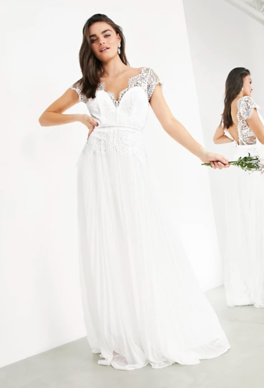 This $270 ASOS wedding gown has been very popular among brides in lockdown. Photo: ASOS