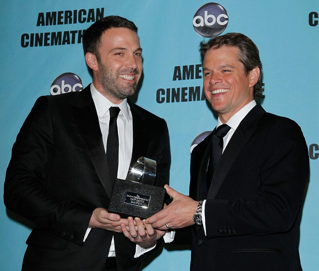 "<a href=""http://movies.yahoo.com/movie/contributor/1800018969"">Ben Affleck</a> and <a href=""http://movies.yahoo.com/movie/contributor/1800020155"">Matt Damon</a> at the 24th American Cinematheque Annual Gala Honoring Matt Damon on March 27, 2010."