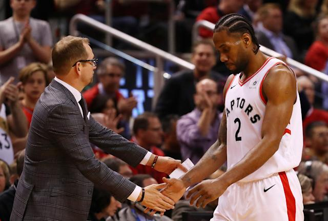 Kawhi Leonard informed Toronto Raptors head coach Nick Nurse of his decision to join the Los Angeles Clippers via text message. (Photo by Gregory Shamus/Getty Images)