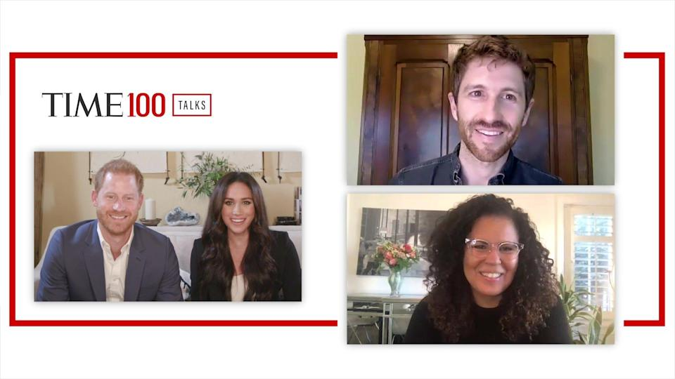 Prince Harry and Duchess Meghan of Sussex hosted a TIME100 Talks online conference on Oct. 2020, to discuss reforming the digital world, featuring participants Tristan Harris of the Center for Humane Technology, and Safiya Umoja Noble of the UCLA Center for Critical Internet Inquiry.