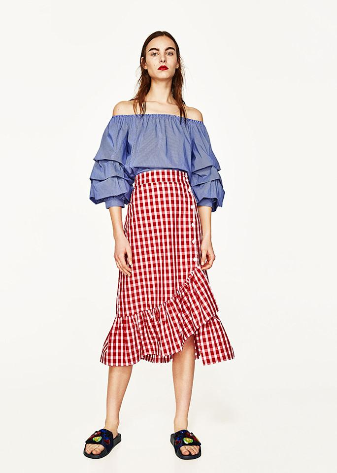 "Off-the-Shoulder Top, $49.90; at <a rel=""nofollow"" href=""https://www.zara.com/us/en/woman/new-in/off-the-shoulder-top-c805003p4560507.html"" rel="""">Zara</a>"