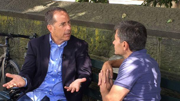 PHOTO: Comedian Jerry Seinfeld discusses his new Netflix special in an interview with ABC News' chief anchor George Stephanopoulos. (ABC News)