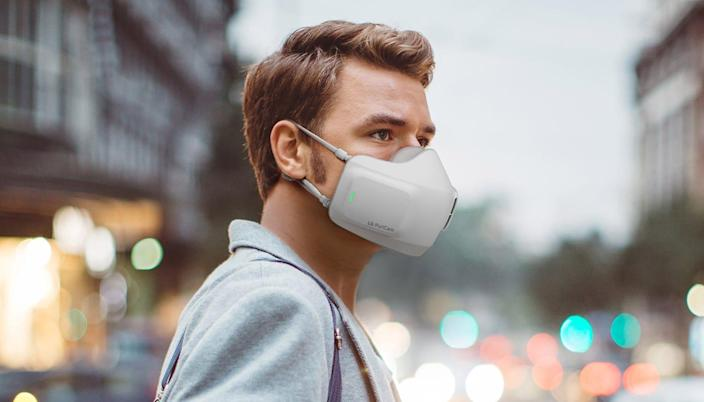 LG's PuriCare Wearable Air Purifier is a smart mask with two filters that capture up to 99.95 percent of viruses, bacteria and allergens from entering the respiratory system. Its rechargeable battery allows for 2 to 8 hours of wear.