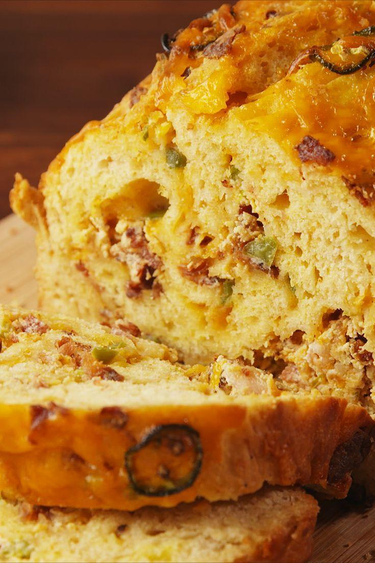 """<p>If you love a good beer-cheese dip, get on this stuffed cheesy bread.</p><p>Get the recipe from <a href=""""https://www.delish.com/cooking/recipe-ideas/recipes/a55534/bacon-cheddar-beer-bread-recipe/"""" rel=""""nofollow noopener"""" target=""""_blank"""" data-ylk=""""slk:Delish"""" class=""""link rapid-noclick-resp"""">Delish</a>.</p>"""