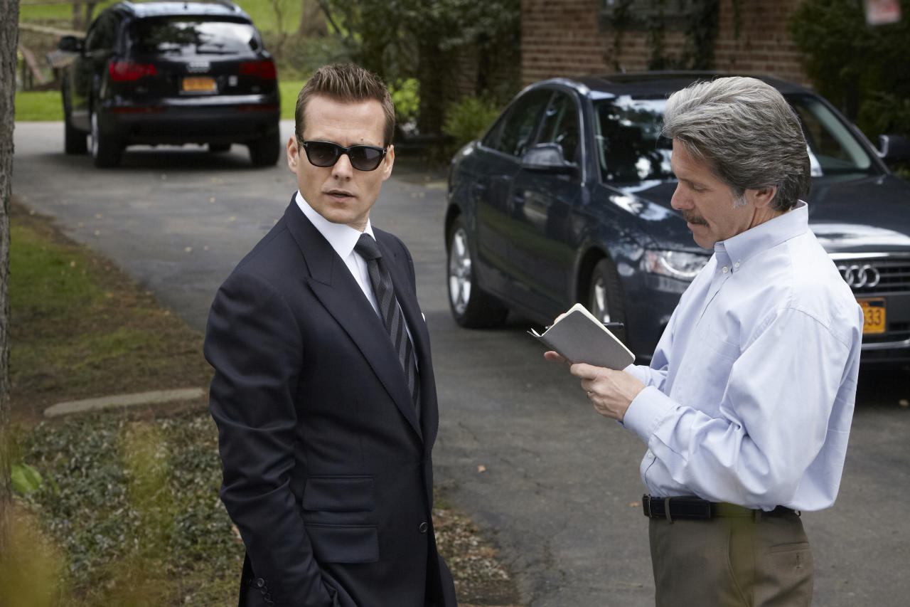 "Gabriel Macht as Harvey Specter and Gary Cole as Cameron Dennis in the ""Suits"" Season 3 episode, ""I Want You To Want Me."""