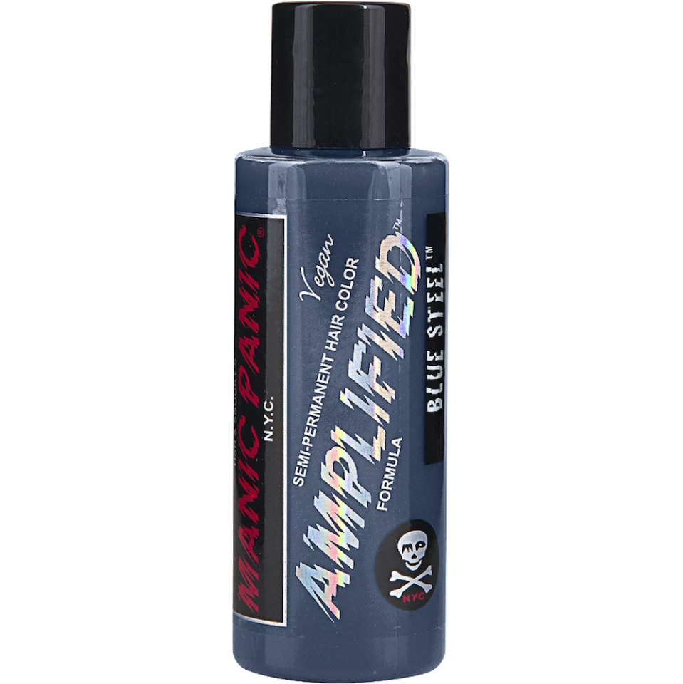 """<p><strong>Manic Panic</strong></p><p>ulta.com</p><p><strong>$15.99</strong></p><p><a href=""""https://go.redirectingat.com?id=74968X1596630&url=https%3A%2F%2Fwww.ulta.com%2Famplified-semi-permanent-hair-color%3FproductId%3DxlsImpprod15541139&sref=https%3A%2F%2Fwww.bestproducts.com%2Fbeauty%2Fg3176%2Fgrey-silver-hair-dye%2F"""" rel=""""nofollow noopener"""" target=""""_blank"""" data-ylk=""""slk:Shop Now"""" class=""""link rapid-noclick-resp"""">Shop Now</a></p><p>OK — full disclosure, we fell in love with the name first. This light-blue, metallic hair dye will give already-blonde hair a wash of silvery coolness and give your entire look a more """"metal"""" edge.</p>"""