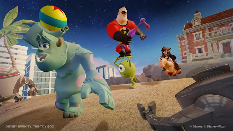 "This undated publicity photo released by the Walt Disney Company shows the video game, ""Disney Infinity: The Toy Box."" With cartoony posters plastering the walls and action figures standing at attention on nearly every flat surface, a once mundane conference room at Walt Disney Interactive Studios has been transformed into the war room for ""Disney Infinity,"" the company's ambitious project that combines real-life figurines with a virtual world. As colorful date-stamped orders and dozens of 4-inch-tall soldiers lined up across the room suggest, Disney is readying for a years-long siege, not just a one-time battle, for consumers' attention. (AP Photo/Walt Disney Company)"