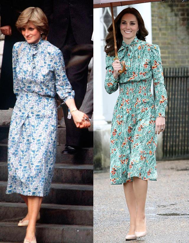 Kate Middleton channeled her late mother-in-law with a floral dress. (Photo: Getty Images)