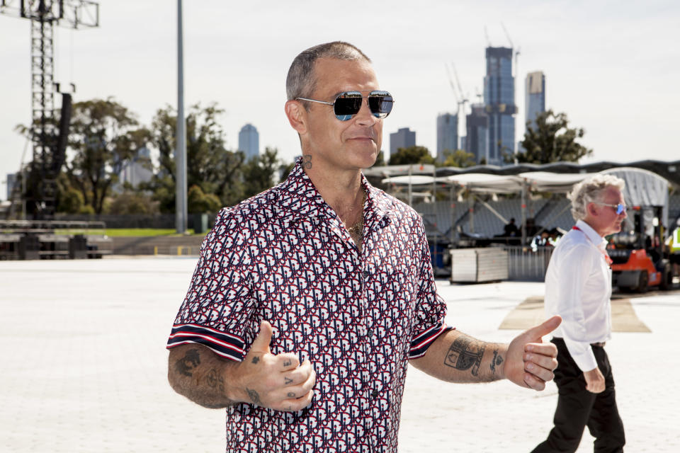 Robbie Williams attends a media call on March 12, 2020 in Melbourne, Australia. (Photo by Sam Tabone/WireImage)