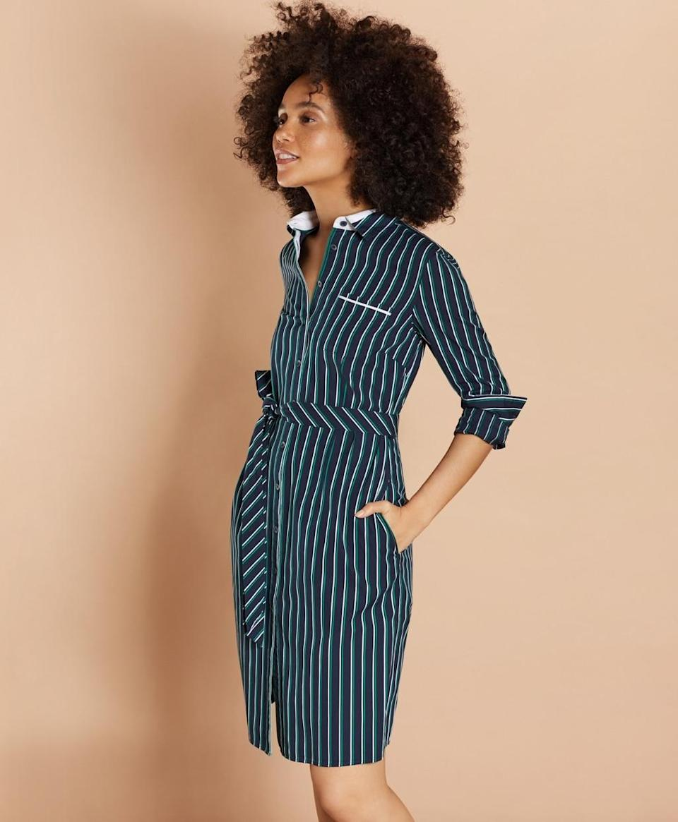 """<p><strong>Brooks Brothers</strong></p><p>brooksbrothers.com</p><p><strong>$98.00</strong></p><p><a href=""""https://go.redirectingat.com?id=74968X1596630&url=https%3A%2F%2Fwww.brooksbrothers.com%2FStriped-Cotton-Dobby-Shirt-Dress%2FSX00272%2Cdefault%2Cpd.html&sref=http%3A%2F%2Fwww.townandcountrymag.com%2Fstyle%2Ffashion-trends%2Fg26522706%2Fbest-dresses-for-older-women%2F"""" rel=""""nofollow noopener"""" target=""""_blank"""" data-ylk=""""slk:Shop Now"""" class=""""link rapid-noclick-resp"""">Shop Now</a></p><p>Every preppy closet needs a classic striped shirtdress. </p><p><strong>More:</strong> <a href=""""https://www.townandcountrymag.com/style/fashion-trends/g10320359/cute-preppy-dresses/"""" rel=""""nofollow noopener"""" target=""""_blank"""" data-ylk=""""slk:Preppy Dresses for Every Occassion"""" class=""""link rapid-noclick-resp"""">Preppy Dresses for Every Occassion</a></p>"""