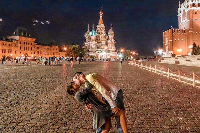 <p>Rob Switzer proposed to Joli while they were on holiday in Moscow. (Caters News) </p>
