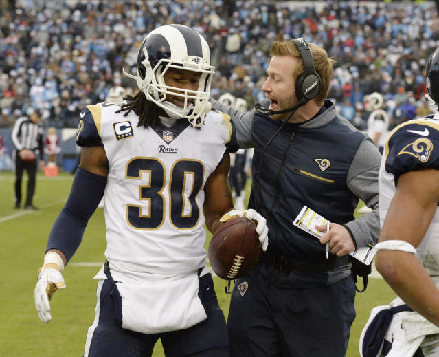 "<a class=""link rapid-noclick-resp"" href=""/nfl/teams/lar/"" data-ylk=""slk:Los Angeles Rams"">Los Angeles Rams</a> running back <a class=""link rapid-noclick-resp"" href=""/nfl/players/28398/"" data-ylk=""slk:Todd Gurley"">Todd Gurley</a> and head coach Sean McVay have a lot to celebrate after both winning major trophies on Saturday. (AP)"