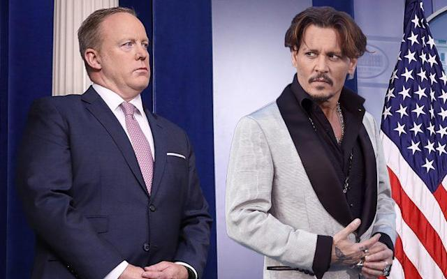 Sean Spicer, Johnny Depp. (Photo illustration: Yahoo News; photos: Win McNamee/Getty Images, Jordan Strauss/Invision/AP)