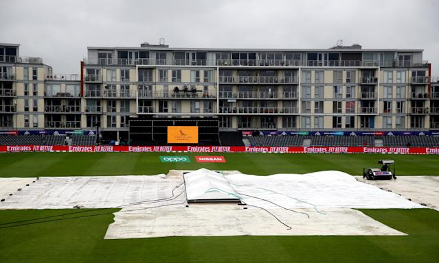 A general view of rain covers over the field during the ICC Cricket World Cup group stage match at Bristol County Ground. (Photo by Nick Potts/PA Images via Getty Images)