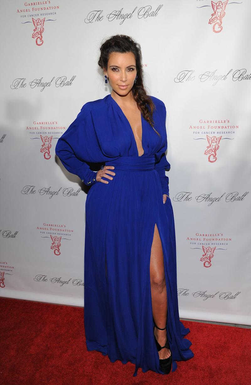 Television personality Kim Kardashian attends Gabrielle's Angel Foundation 2012 Angel Ball cancer research benefit at Cipriani Wall Street on Monday Oct. 22, 2012 in New York. (Photo by Evan Agostini/Invision/AP)
