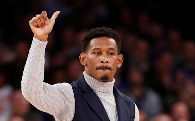 <span>Daniel Jacobs attends a NBA basketball game at Madison Square Garden - the venue for his fight </span> <span>Credit: AP </span>