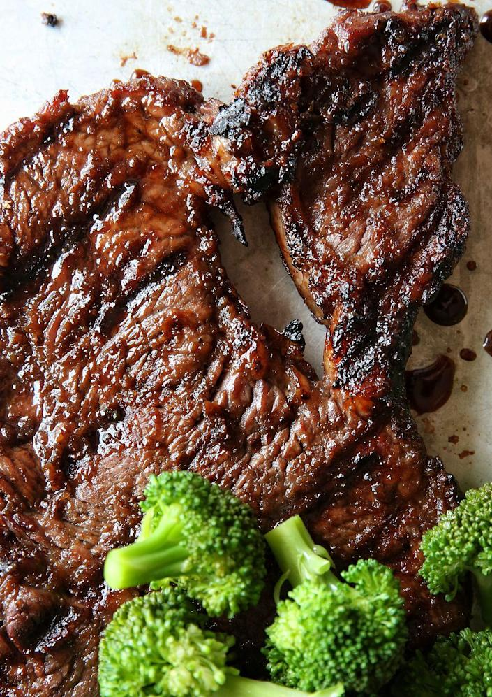 """<p>We can't get enough of the sweet and crunchy outer crust on this juicy steak.</p><p>Get the recipe from <a href=""""https://www.delish.com/cooking/recipe-ideas/recipes/a48915/mongolian-glazed-steak-with-broccoli-recipe/"""" rel=""""nofollow noopener"""" target=""""_blank"""" data-ylk=""""slk:Delish"""" class=""""link rapid-noclick-resp"""">Delish</a>.</p>"""