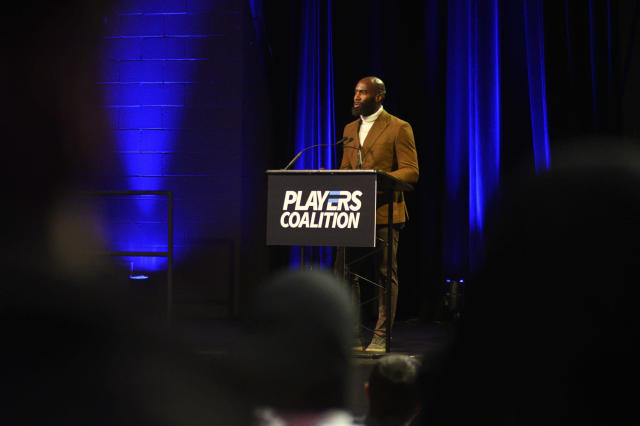 """Eagles Safety and Players Coalition Co-Founder <a class=""""link rapid-noclick-resp"""" href=""""/nfl/players/9278/"""" data-ylk=""""slk:Malcolm Jenkins"""">Malcolm Jenkins</a> speaks during the Players Coalition Town Hall on Policing in the city, at Community College of Philadelphia, PA, on October 28 2019. (Photo by Bastiaan Slabbers/NurPhoto via Getty Images)"""