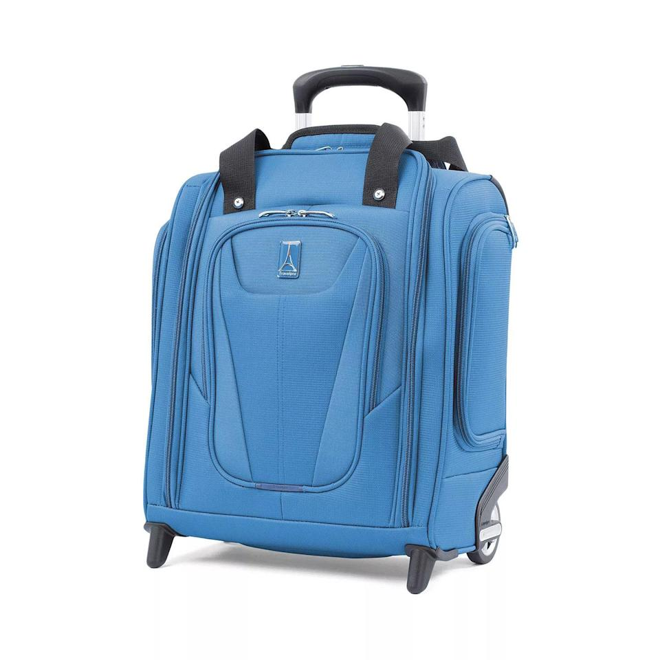 <p>This tiny little suitcase is like a backpack on wheels but better. It's so compact that it will fit under your seat for the flight, but surprisingly roomy on the inside, so you can fit the sandals <em>and </em>the sneakers. This baby has wheels as well, so you can give your back a break while you're en route.</p>