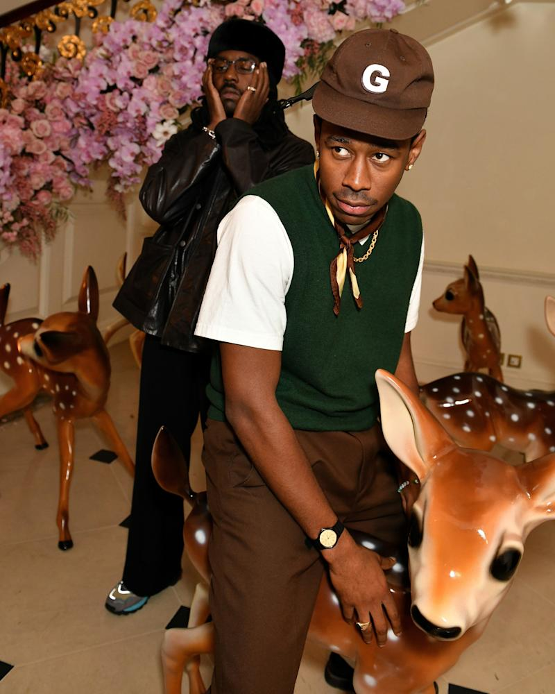 Tyler, the Creator and Dev Hynes with a deer friend.